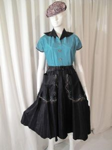 1950's Black and jade vintage Rock 'n' Roll dress by BICKLER **SOLD**